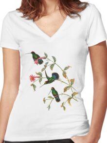 Long-billed Starthroat, Heliomaster longirostris Women's Fitted V-Neck T-Shirt
