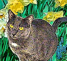 Cat and Daffodils by Lisann