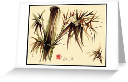 """Bamboo Symphony"" Original acrylic wash & brush pen painting by Rebecca Rees"