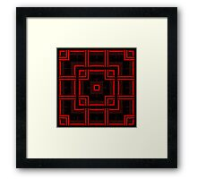 Red and Black Abstract Geometric Pattern  Framed Print