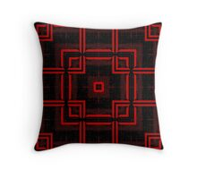Red and Black Abstract Geometric Pattern  Throw Pillow