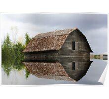Flooded Log Barn Poster