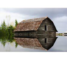 Flooded Log Barn Photographic Print
