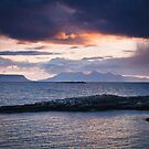 Rum and Eigg at Sunet from Arisaig by Christopher Thomson