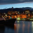 Night falling over Hobart by CezB
