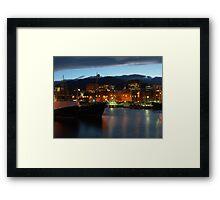 Night falling over Hobart Framed Print