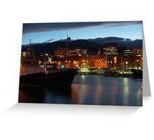 Night falling over Hobart Greeting Card