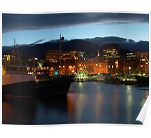 Night falling over Hobart Poster