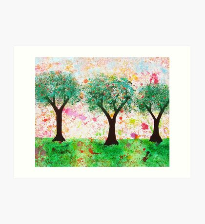 Loves Nature - Trees with Love Hearts Art Print