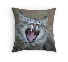 Yawning Cat Throw Pillow