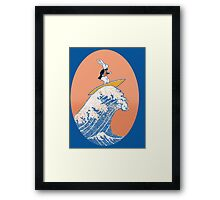 White Rabbit Surfing Framed Print