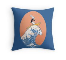 White Rabbit Surfing Throw Pillow