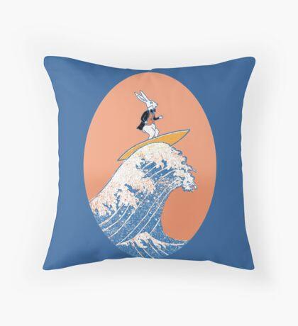 White Rabbit Surfing Throw Pillow