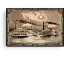 Two Steamboat on River. Age of Steam #007 Canvas Print