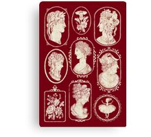 Cameos - red Canvas Print