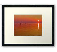 Lake Biwa, Japan: last light. Framed Print