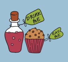 Alice In Wonderland Drink Me Eat Me T Shirt by bitsnbobs