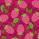 Pink raspberries by smalldrawing