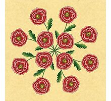 Red Flower Mandala Photographic Print
