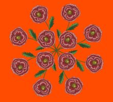 Red Flower Mandala Kids Clothes