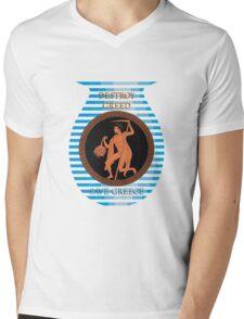 Destroy Greed Save Greece Mens V-Neck T-Shirt