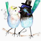 Wedding Card or Invitation - Blue Birds Bride & Groom by Trish Loader