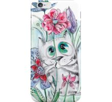 Funny Watercolor Cat with Flowers iPhone Case/Skin