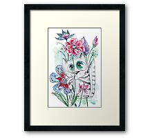 Funny Watercolor Cat with Flowers Framed Print