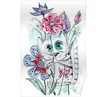 Funny Watercolor Cat with Flowers Poster