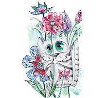 Funny Watercolor Cat with Flowers Photographic Print