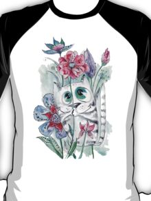 Funny Watercolor Cat with Flowers T-Shirt