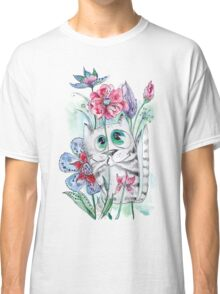 Funny Watercolor Cat with Flowers Classic T-Shirt