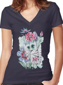 Funny Watercolor Cat with Flowers Women's Fitted V-Neck T-Shirt