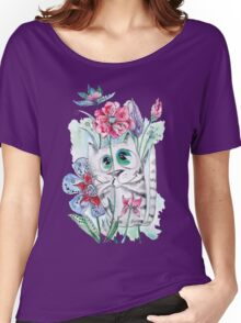 Funny Watercolor Cat with Flowers Women's Relaxed Fit T-Shirt