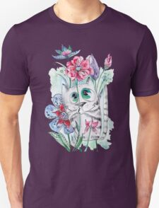 Funny Watercolor Cat with Flowers Unisex T-Shirt