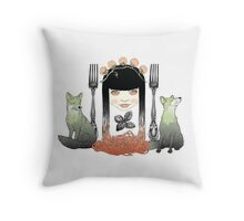 Spaghetti girl Throw Pillow