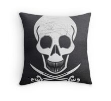leather stitched pirate skull  Throw Pillow