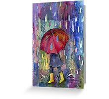 Red brolly Greeting Card