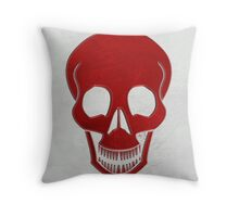 leather stitched skull red Throw Pillow