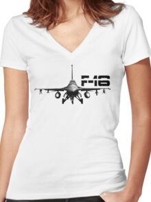 F-16 Fighting Falcon Women's Fitted V-Neck T-Shirt