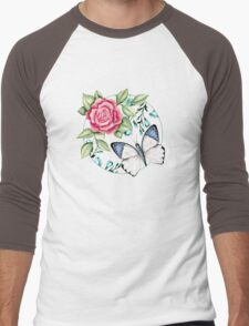 Butterfly and rose Men's Baseball ¾ T-Shirt