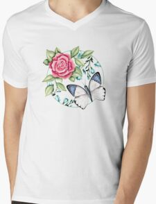 Butterfly and rose Mens V-Neck T-Shirt