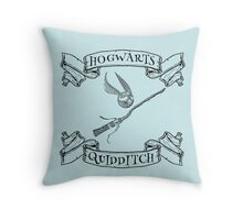 Hogwarts Quidditch with Snitch and Quidditch Broom Throw Pillow