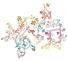 Floral Music Notes 2 Photographic Print