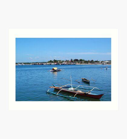 Fishing Boats in Baywalk, Palawan Art Print