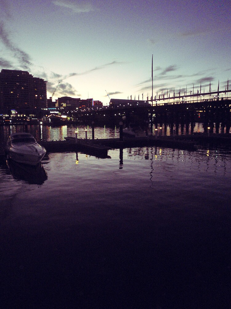 Night at the harbour by Imogene Munday