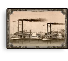 Two Steamboat on River. Age of Steam #010 Canvas Print
