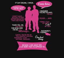 Stargate SG-1 - Sam & Jack quotes (Pink/White design) T-Shirt