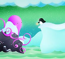 The octopus and penguin by Hannah Chapman