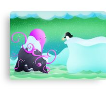 The octopus and penguin Canvas Print